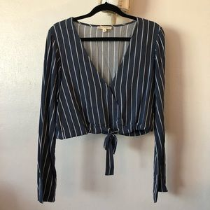 blue and white striped flowy crop top